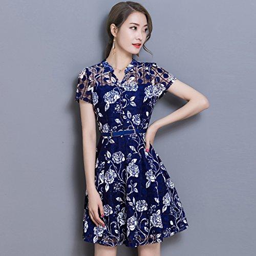 XIU*RONG Chiffon Florales Falda blue