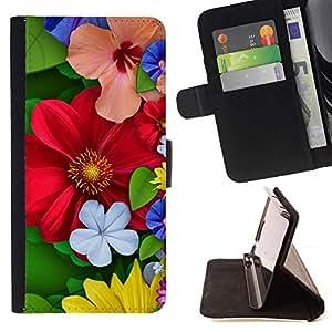 Momo Phone Case / Flip Funda de Cuero Case Cover - Floral de primavera coloridas Flores rojas del flor - Samsung Galaxy S5 V SM-G900