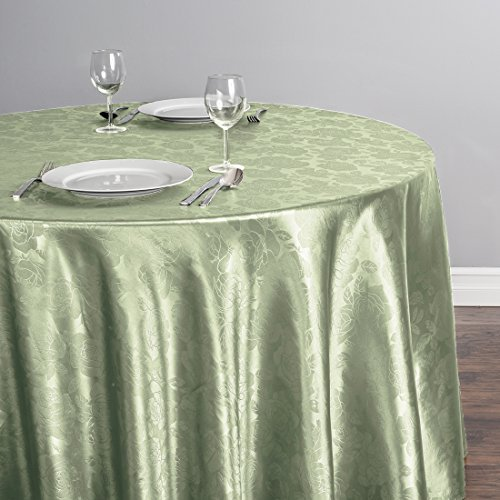 LinenTablecloth Round Rose Embossed Satin Tablecloth, 108-Inch, Reseda