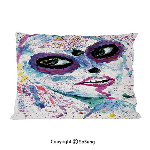 Girls Bed Pillow Case/Shams Set of 2,Grunge Halloween Lady with Sugar Skull Make Up Creepy Dead Face Gothic Woman Artsy Queen Size Without Insert (2 Pack Pillowcase 30