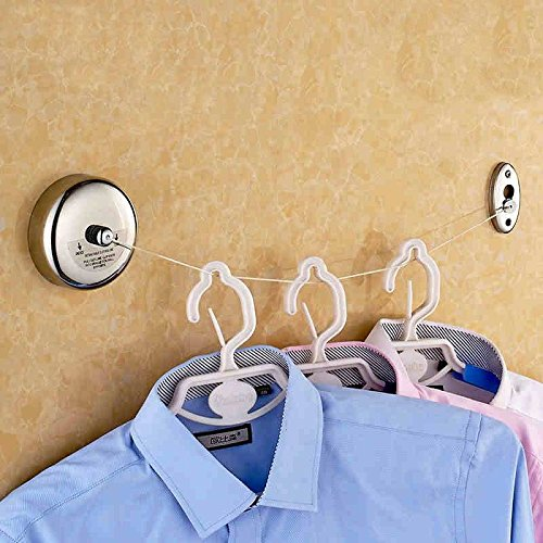 Hiquty 2.5m Stainless Steel Retractable Indoor Clothes Line For Home - Spring Sunglasses Hinge Double