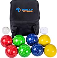 Rally and Roar Bocce Ball Game Set - 8 Balls, Pallino, Carry Case, Measuring Rope - Multiple Sizes