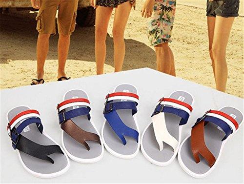 Bininbox Chanclas Para Hombre Sandalias Planas Zapatillas Respirables Zapatillas Abiertas Zapatillas De Rayas Marrón