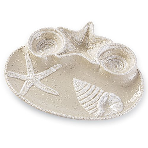 Mud Pie Nautical Sealife Chip & Dip Serving Bowl, Off-White