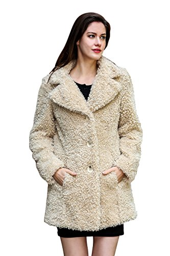 Adelaqueen Faux Fur Coat Jacket Women Beige Long Sleeve for sale  Delivered anywhere in USA