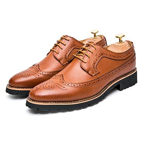 LYZGF Cuir Brown Business Dentelle Mode Loisirs Hommes Jeunes En Chaussures Saisons rTBraq