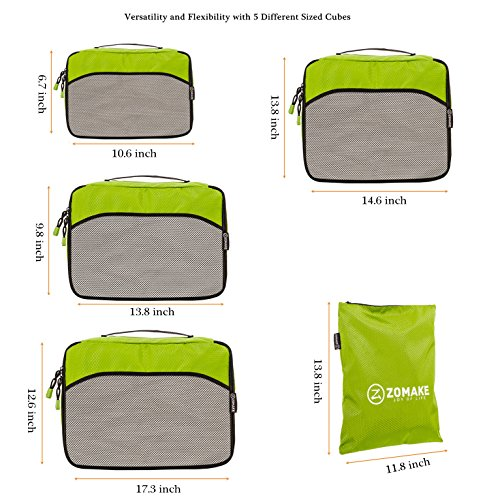Packing Cubes Set (5 Piece) for Carry-on Travel Accessories Organizers - Waterproof and Lightweight