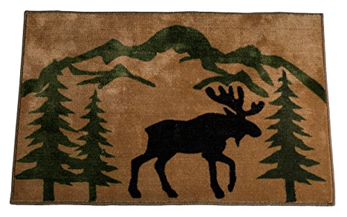 HiEnd Accents Moose Lodge Kitchen and Bath Rug, 24 x 36 - Moose Bath Rug