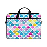 JOYPRINT Laptop Sleeve Case, Colorful Rainbow Sea Mermaid Fish Scales 14-14.5 inch Briefcase Messenger Notebook Computer Bag with Shoulder Strap Handle for Men Women Boy Girls