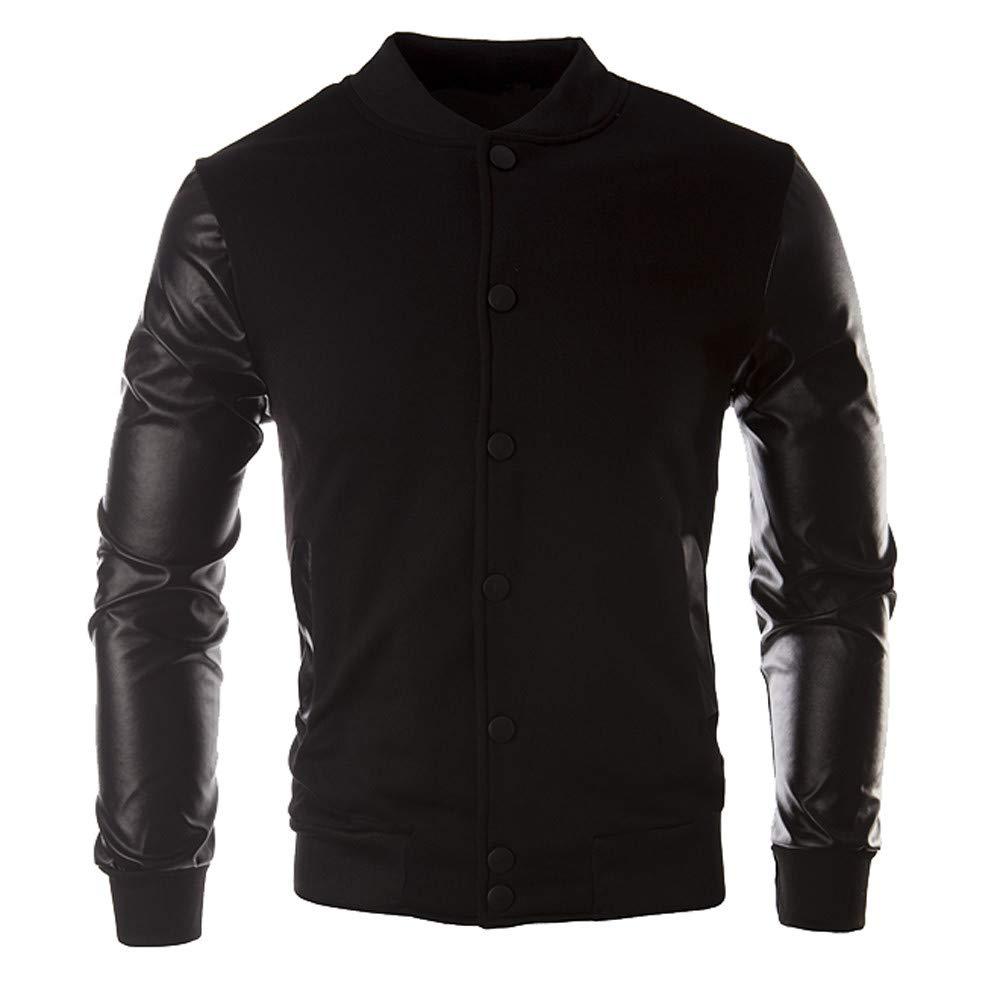 Corriee Jacket Coat Men Fall Winter Athletic Leather Patchwork Sportswear Mens Button Outwear