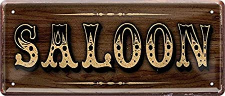 Saloon 1192 Targa in metallo con scritta Western Ranch 28 x 12 cm