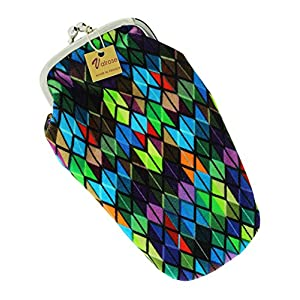 Valrose Women's Soft Velvet Eyeglass Case, Eyewear Pouch With Clasp, Stained Glass - Multicolor