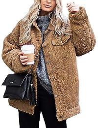 Women's Coat Casual Fleece Fuzzy Faux Shearling Button...