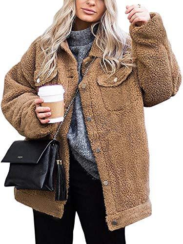 ECOWISH Women's Coat Casual Lapel Fleece Fuzzy Faux Shearling Zipper Warm Winter Oversized Outwear Jackets 0214 Khaki M