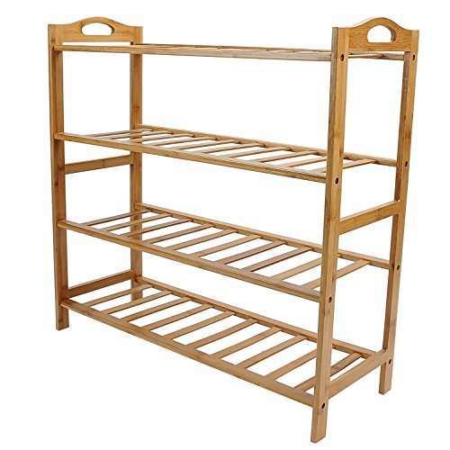 100% Pure Bamboo 4-Tier Shoe Rack Storage Organizer