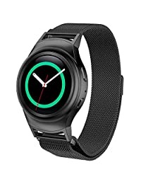D.B.MOOD Mesh Watch Band for Samsung Gear S2 RM-720 Smart Watch,Stainless Steel,4 Color,8.26 Inches Black