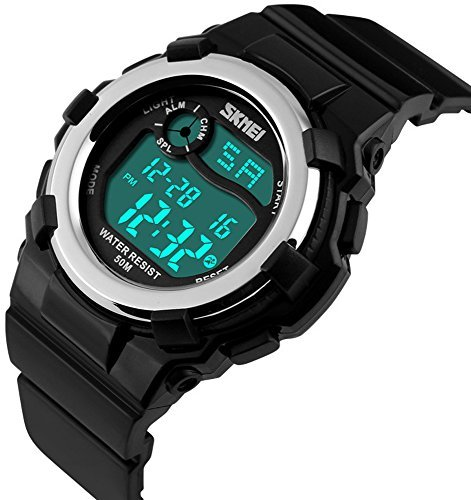 Fanmis Children's Outdoor Sports Multifunction Waterproof Digital Watch Military 12/24H Electronic Alarm Stopwatch Backlight 164FT Water Resistant Calendar Month Date Day Week Rubber Strap Watch Black by Fanmis