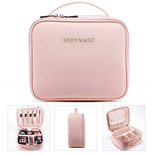 BEGIN MAGIC Mini Makeup Train Case/Portable makeup bag/Small Cosmetic Organizer Case ()