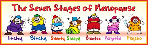 The 7 Stages of Menopause Funny Sign in Style of 7 Dwarfs - Fun Sign Factory Original Cartoon Wall Art