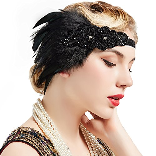 K136 Black Great Gatsby 20s Headpiece Bracelet Ring Flapper Costume Headband