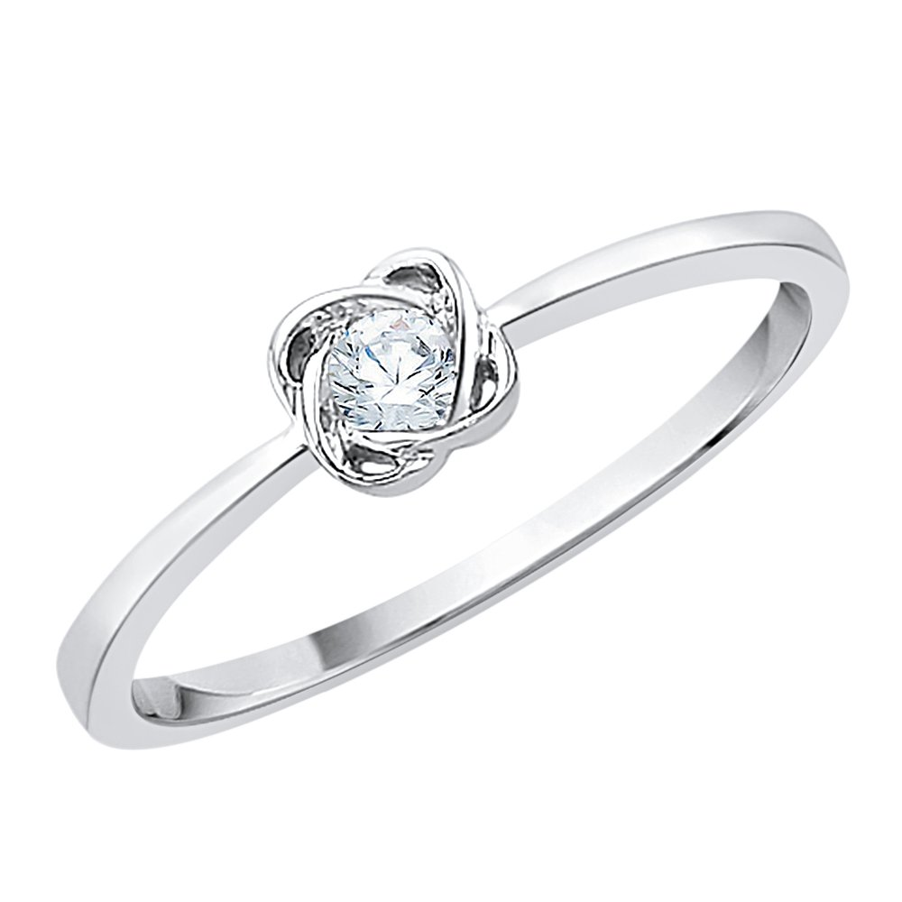 Diamond Promise Ring in Sterling Silver (1/10 cttw) (GH-Color, I2/I3-Clarity) (Size-9.75)