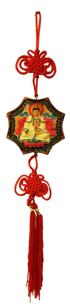 Quan Yin Charm Hanger with Red Tassel