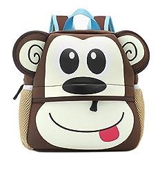 Lulutus Little Kids Cute Animals Backpack Preschool Bags Waterproof For Toddler Boys Girls,monkey