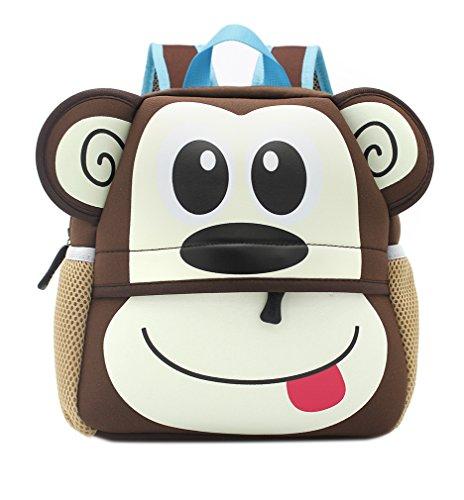Toddler Monkey (Lulutus Little Kids Cute Animals Backpack Preschool Bags Waterproof for Toddler Boys Girls,Monkey)