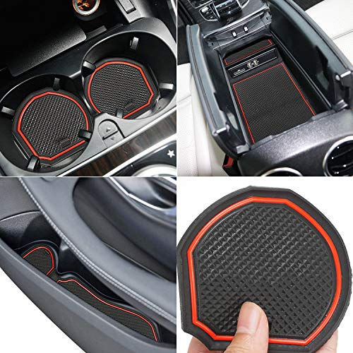 Auovo Anti Dust Mats for Mercedes-Benz C-Class C300 Sedan Coupe 2015-2019 Custom Fit Door Compartment Liners Cup Holder Console Liners Interior Accessories(8pcs/Set) (Red)