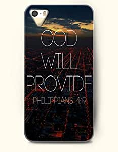 iPhone 5 5S Hard Case (iPhone 5C Excluded) **NEW** Case with Design God Will Provide Philippians 4:19- ECO-Friendly Packaging - Bible Quotes Series (2014) Verizon, AT&T Sprint, T-mobile