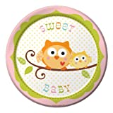 Creative Converting Happi Tree Sweet Baby Girl Round Dessert Plates, 8 Count