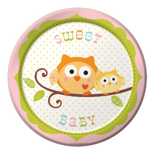 8-Count Round Paper Dessert Plates, Happi Tree Sweet Baby Girl