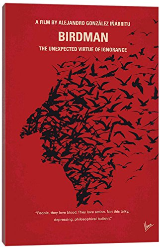 iCanvasART Birdman or (The Unexpected Virtue of Ignorance) Minimal Movie Poster Canvas Print 40
