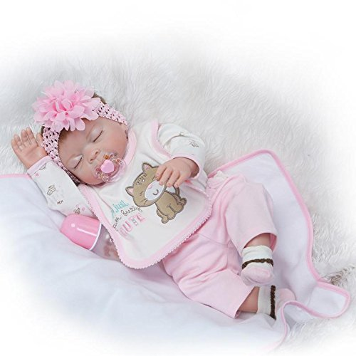"Funny House 2017 NEW 22"" 55cm Full Vinyl Silicone Body Lifelike Reborn Baby Doll Realistic Soft Newborn Dolls Girl Magnet Pacifier for cheap"