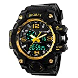 SKMEI Mens Boys Analogue Digital Sport Watch Shock Style Military Big Face Casual Back Light Electronic Wristwatches (gold)