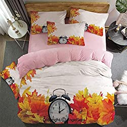 4 Piece Bed Sheets Set Autumn Leaves And An Alarm Clock Fall Season Theme Romantic Digital Print Hypoallergenic,Easy To Care,Fade,Stain And Wrinkle Resistant,King Size Pink for GirlsWhite And Orange
