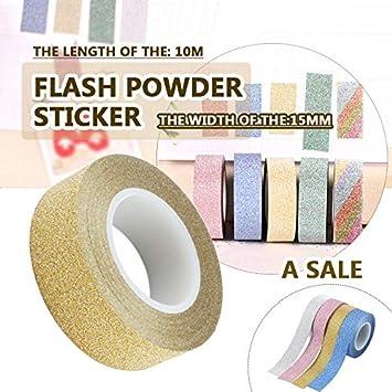 Gulin Decorazione adesiva nastro adesivo Washi glitter fai da te Vestito per forniture per feste scolastiche Artigianato per nastri adesivi in carta a rotolo Accessori fai da te
