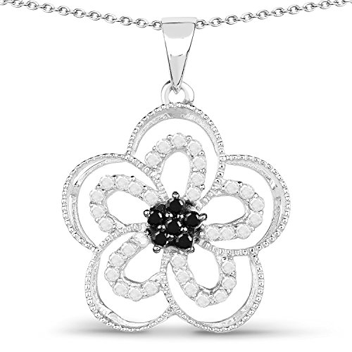 0.42 Carats Genuine White Diamond and Black Diamond (I-J, I2-I3) Flower Pendant Solid .925 Sterling Silver With Rhodium Plating, 18Inch Chain (Rhodium White Flower Pendant)