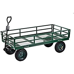 "Sandusky Lee CW6031 Green Heavy Duty Steel Crate Wagon, 1400 lbs Capacity, 60"" Length x 31"" Width x 25"" Height"