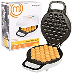 MasterChef Bubble Waffle Maker- Electric Non stick Hong Kong Egg Waffler Iron Griddle- Ready in under 5 Minutes: The CucinaPro Electric Bubble Waffle Maker lets you create Hong Kong style bubble waffles in minutes. Just pour in your batter, cook and ...