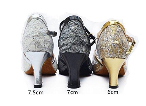 Closed Mid Black Modern Latin Salsa TDA Appliques Tango Glitter Women's Toe Shoes Heel Dance Ballroom H6ZqXZS5