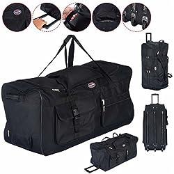 """36"""" Rolling Wheeled Duffle Bag Luggage Suitcase Travel Black New"""
