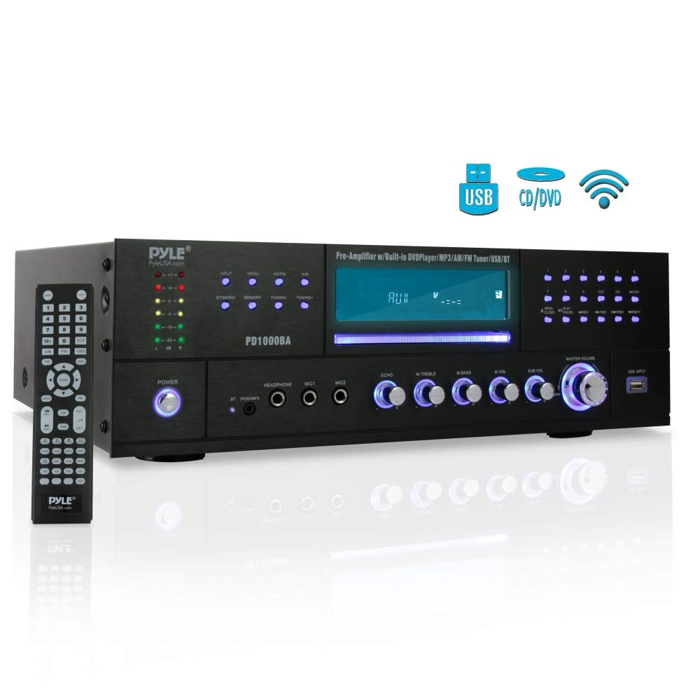 4-Channel Wireless Bluetooth Power Amplifier - 1000W Stereo Speaker Home Audio Receiver w/FM Radio, USB, Headphone, 2 Microphone w/Echo, Front Loading CD DVD Player, LED, Rack Mount - Pyle PD1000BA by Pyle