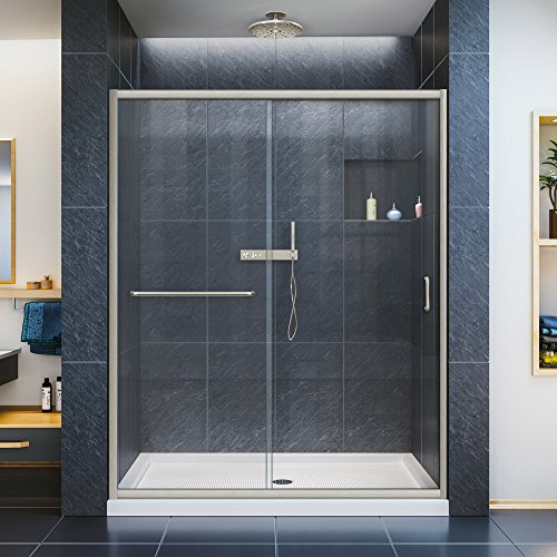DreamLine Infinity-Z 36 in. D x 60 in. W x 74 3/4 in. H Clear Sliding Shower Door in Brushed Nickel and Center Drain White Base, DL-6973C-04CL