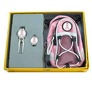 CMC Golf Pink Ribbon/Breast Cancer Awareness Gift Set with Mini Daypack, Divot Tool and Cap Clip, Pink/Yellow