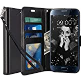 Galaxy S6 Case, LK Luxury PU Leather Wallet Flip Protective Case Cover with Card Slots and Stand for Samsung Galaxy S6 (Black)