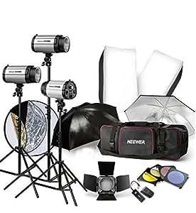 900W Strobe Studio Flash Light Kit - Iluminación fotográfica - Luces estroboscópicas, viseras, soportes de luz, disparadores, toldos y Soft & More!