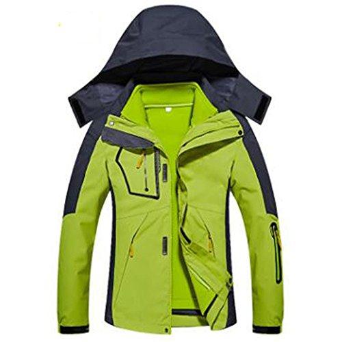 Fodera Giacche Mountain Tre Donna Capispalla Caldo Fluorescentgreen Pile Rimovibile Da Una In Wear gqTXrg