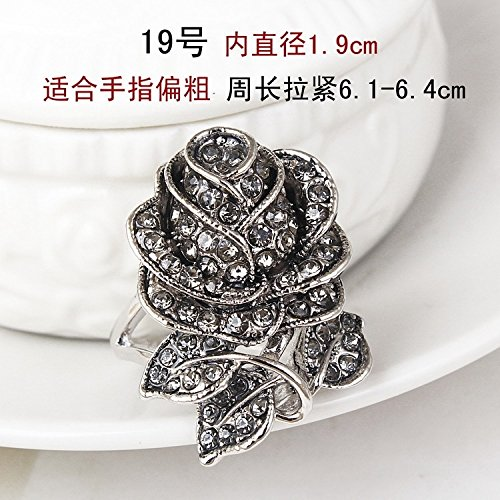 Fashion Personality Exaggerated Ring Diamond Roses Decorated Women Girls Index Finger Ring Jewelry Unique Creative (Retro Rose No. 19 - Inner Diameter of 1.9cm-3-1