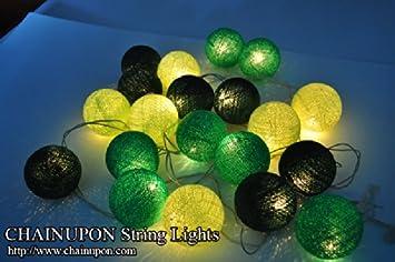 Guirnalda de luces LED, bolas de algodón tonos de verde, la case de, interior, decoración del dormitorio: Amazon.es: Bricolaje y herramientas